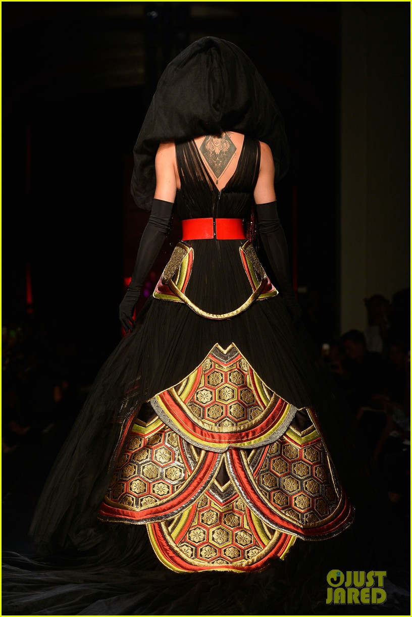bearded drag queen conchita wurst walks jean paul gualtier show runway 09