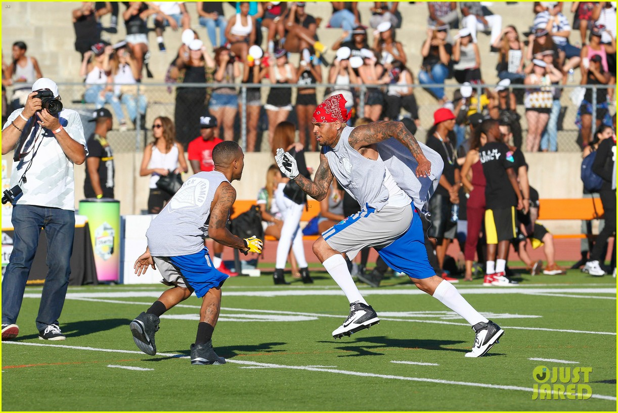 chris brown karrueche tran celebrity flag football game 073177897