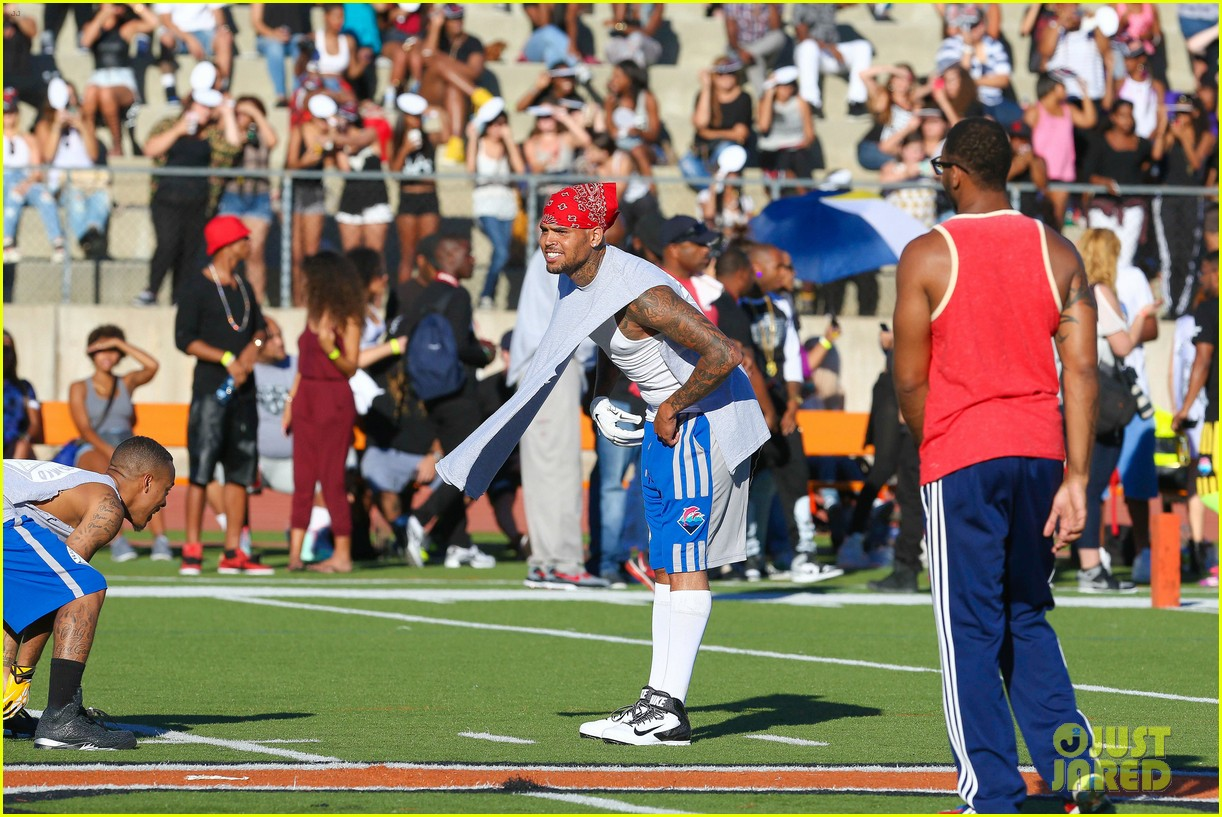 chris brown karrueche tran celebrity flag football game 273177917