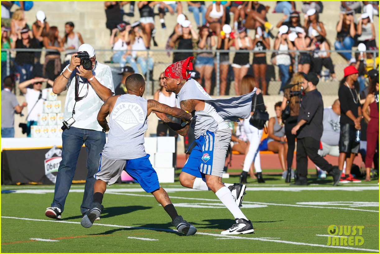 chris brown karrueche tran celebrity flag football game 28