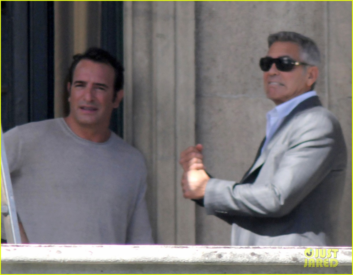 george clooney gets visit from amal alamuddin on set 073185135