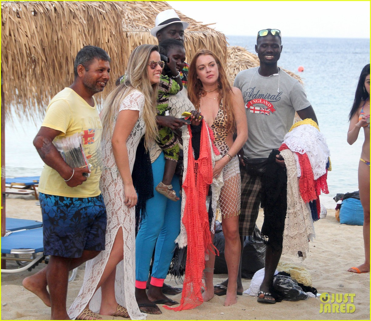 lindsay lohan wears sexy leopart swimsuit on vacation 073172263