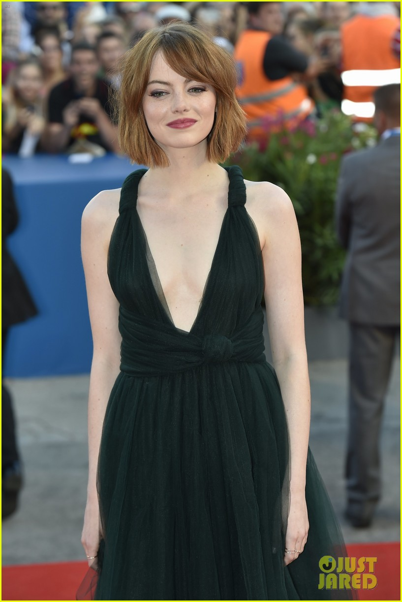 Emma Stone Wears a Very Low Cut Dress for 'Birdman' Venice Film Festival Premiere