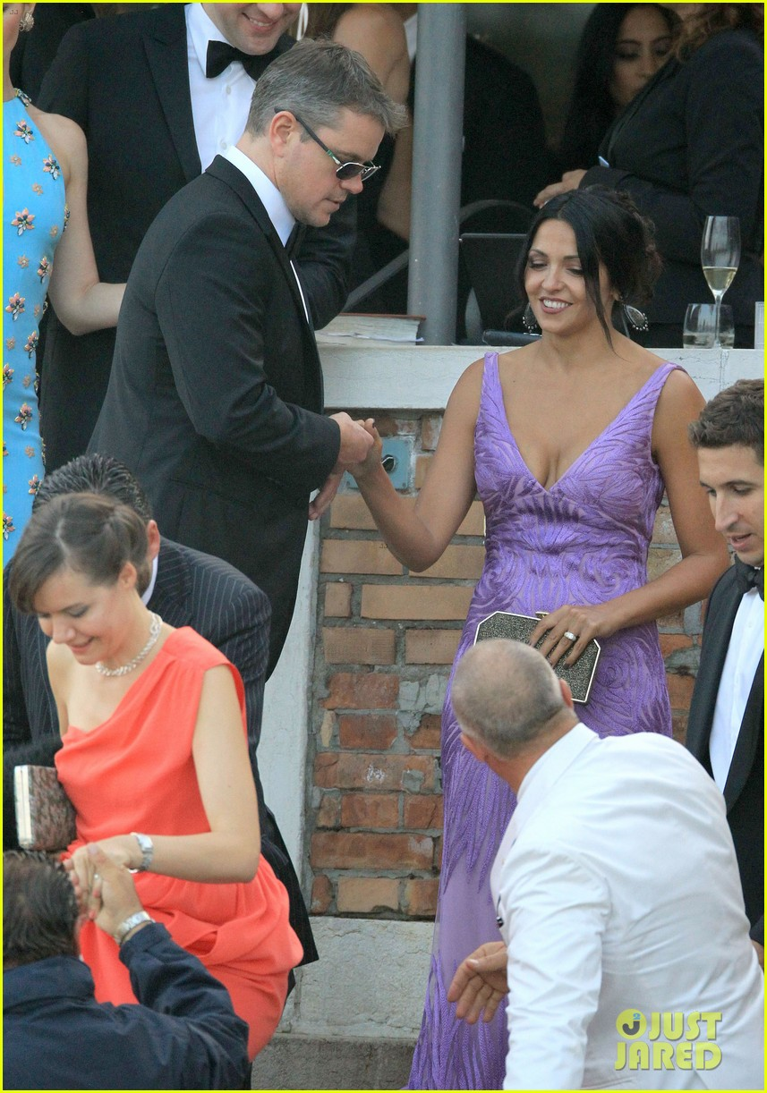 Matt Damon Attends George Clooneys Wedding With Wife Luciana Photo 3205946
