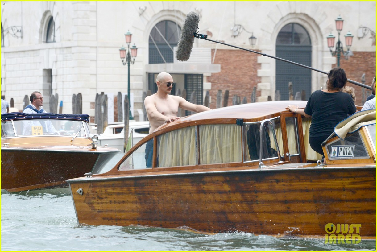 james franco covers his bald head at the sound the fury venice film 183189853
