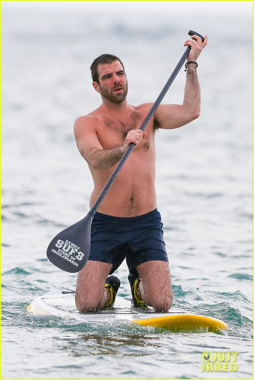 Zachary Quinto gets shirtless with his model boyfriend