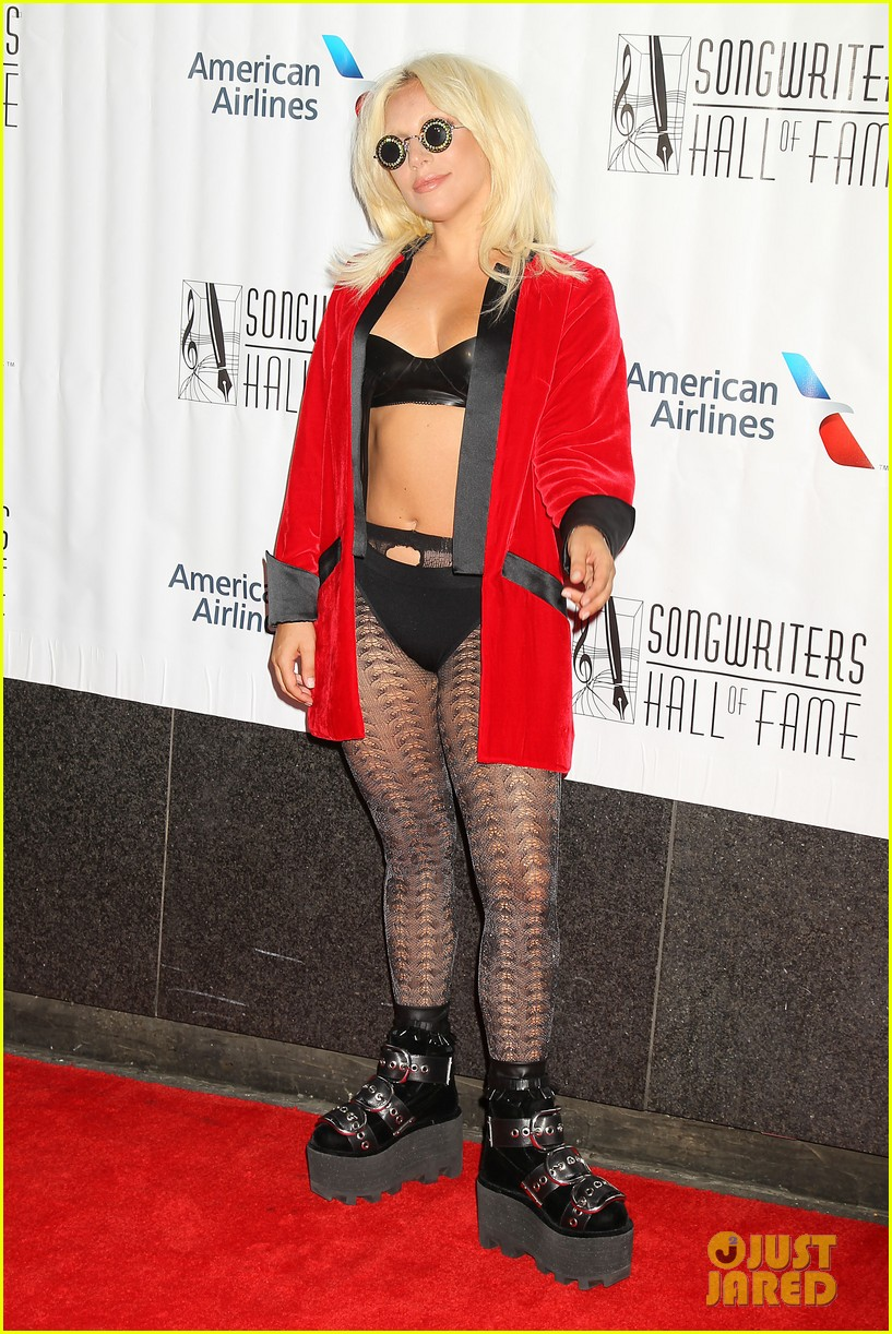 lady gaga wears bra fishnets for latest red carpet event 23
