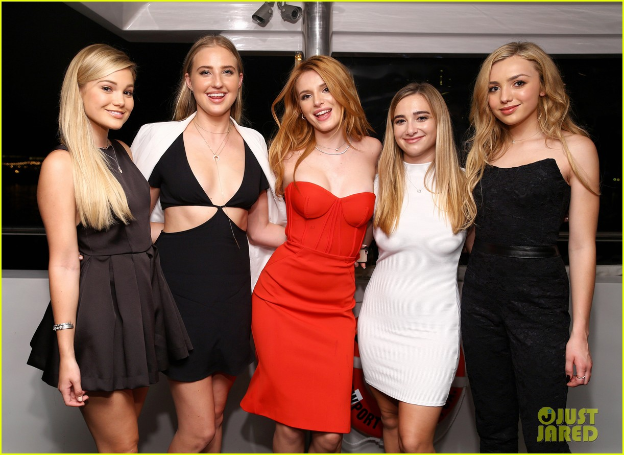Bella thorne bday party friends red dress