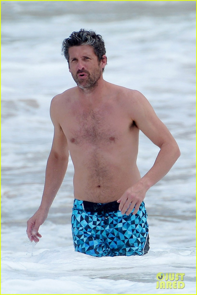 Shirtless Patrick Dempsey Continues His Beach Vacation With Wife