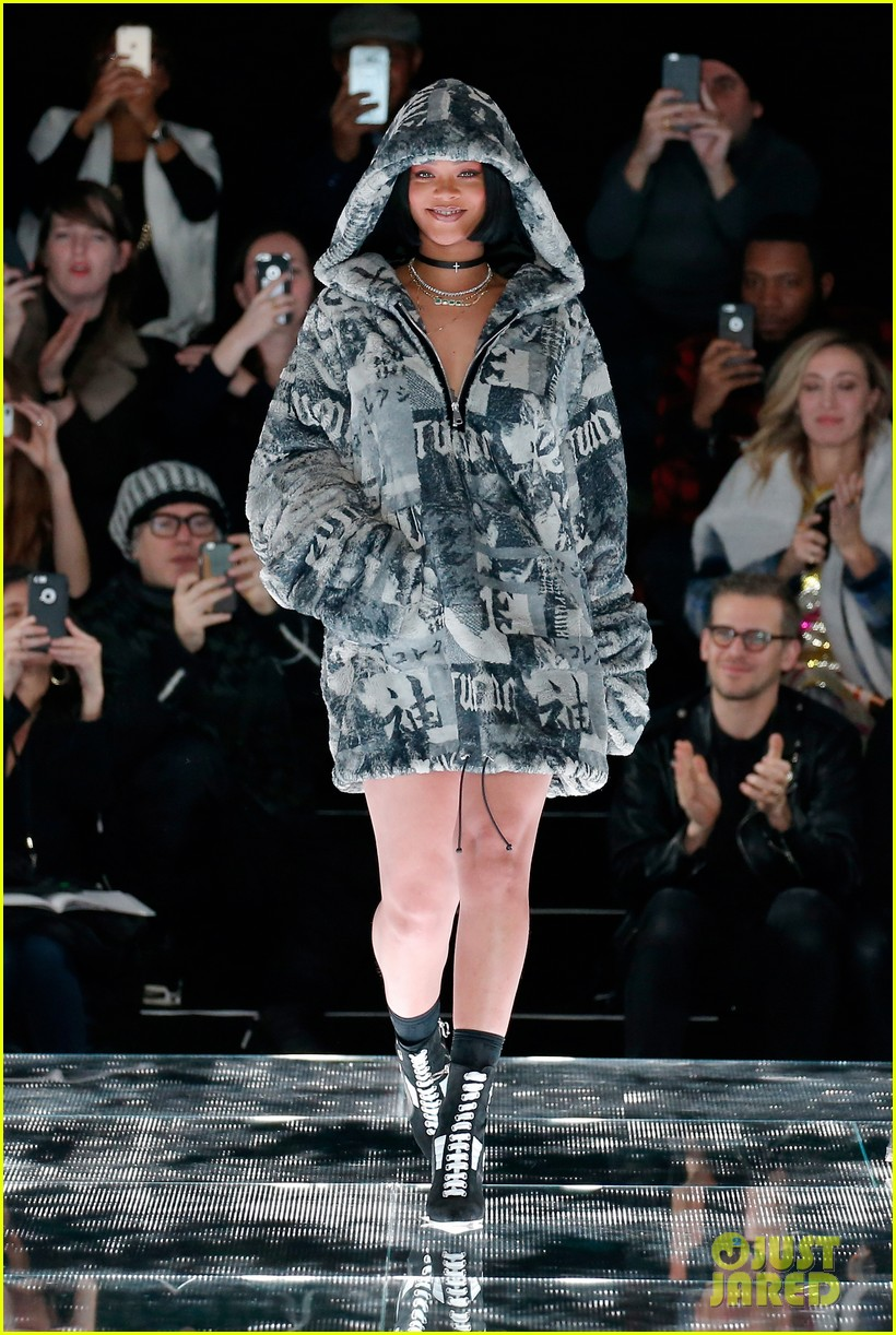 rihanna debuts fenty x puma collection at nyfw photo 3576527 bella hadid gigi hadid rihanna. Black Bedroom Furniture Sets. Home Design Ideas