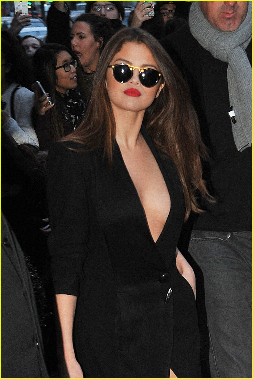 selena gomez rocks sexy slit dress while out in paris for