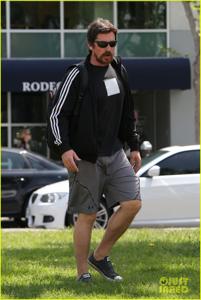 christian bale steps out in his workout gear for a meeting 203632316