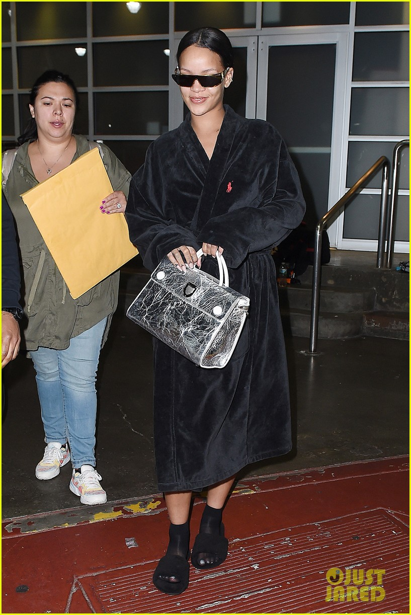 rihanna steps out in robe flip flops after a photo shoot 173667437