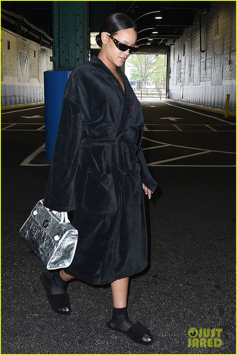 rihanna steps out in robe flip flops after a photo shoot 183667438
