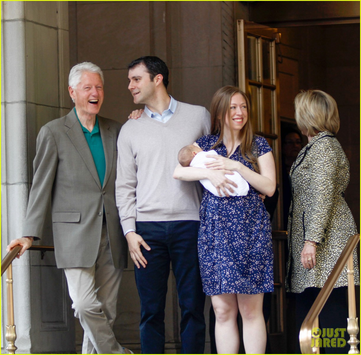 Chelsea clinton and family leaving lenox hill hospital with baby