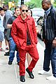 nick jonas red suit aol build appearance 18