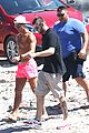 cristiano ronaldo wears brace on injured knee at the beach 14