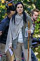 jaimie alexander crawls around the woods while filming for blindspot 27