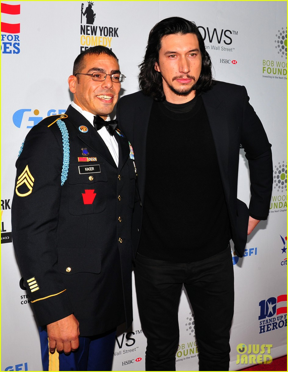 adam driver watches jon stewart roast donald trump at stand up for heroes 033800021