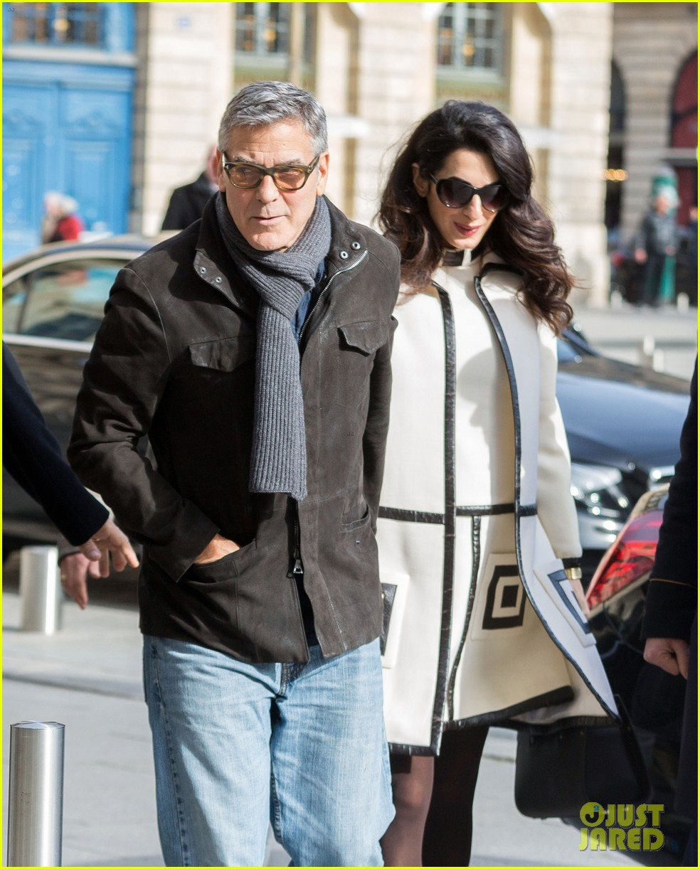 George Clooney & Pregnant Amal Spend a Casual Day in Paris: Photo