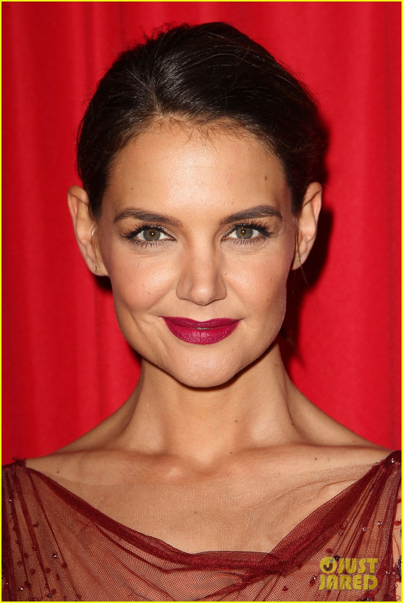katie holmes models marchesa in red dress show for nyfw 223856485