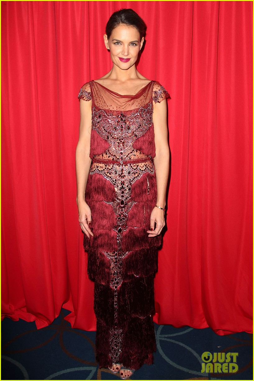 katie holmes models marchesa in red dress show for nyfw 233856486