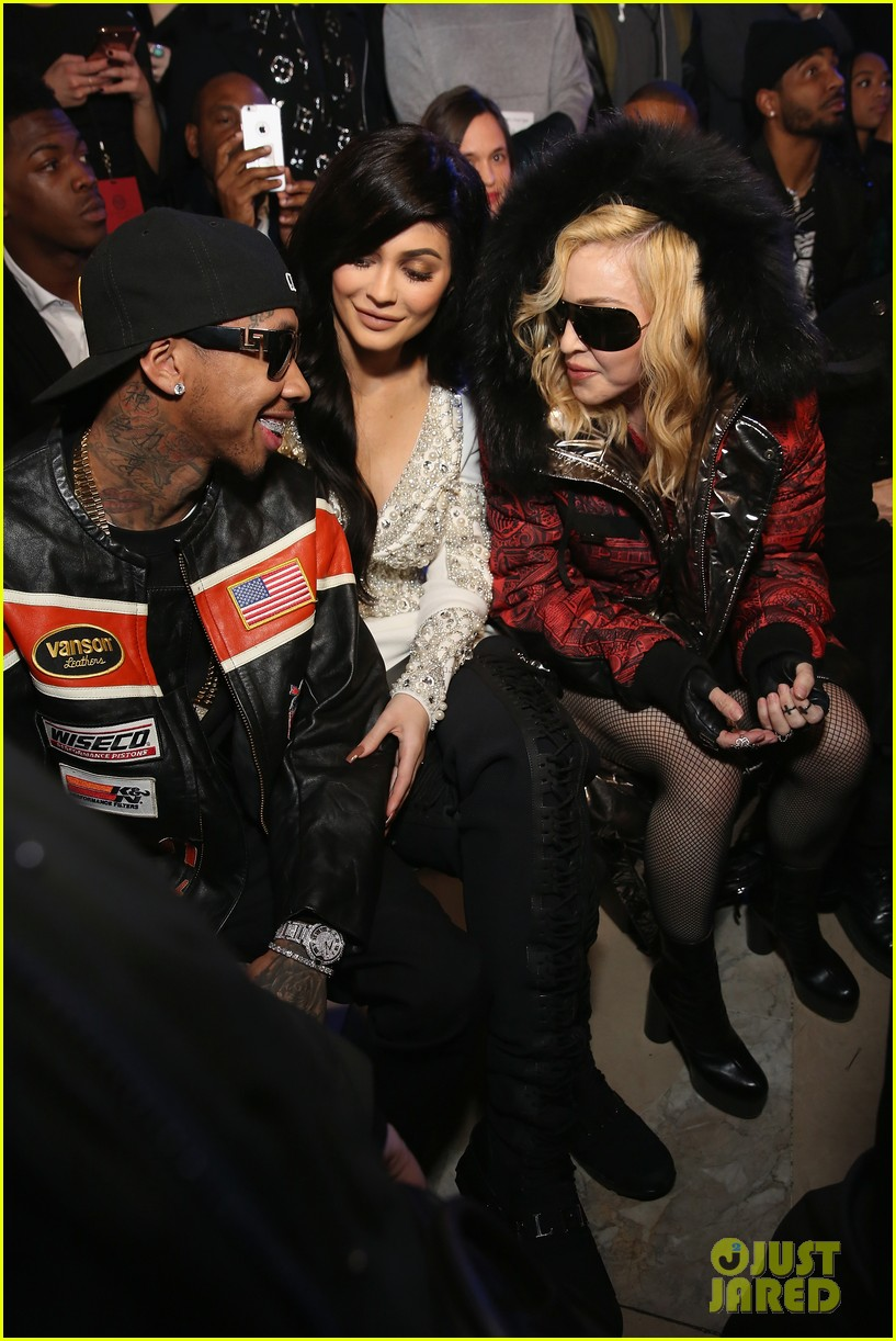 kylie jenner and tyga chat it up with madonna at philipp pleins fashion show 033859686