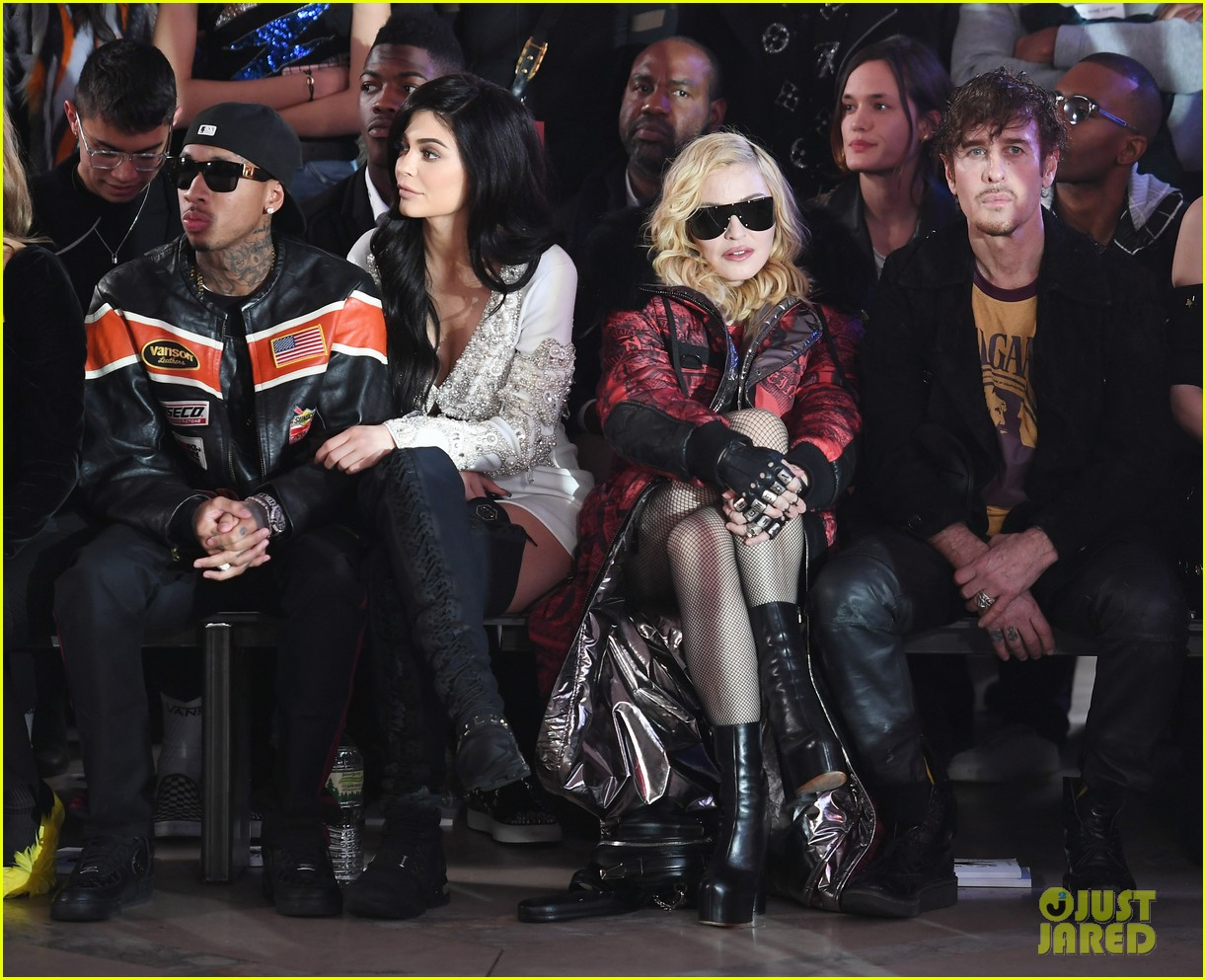 kylie jenner and tyga chat it up with madonna at philipp pleins fashion show 073859690