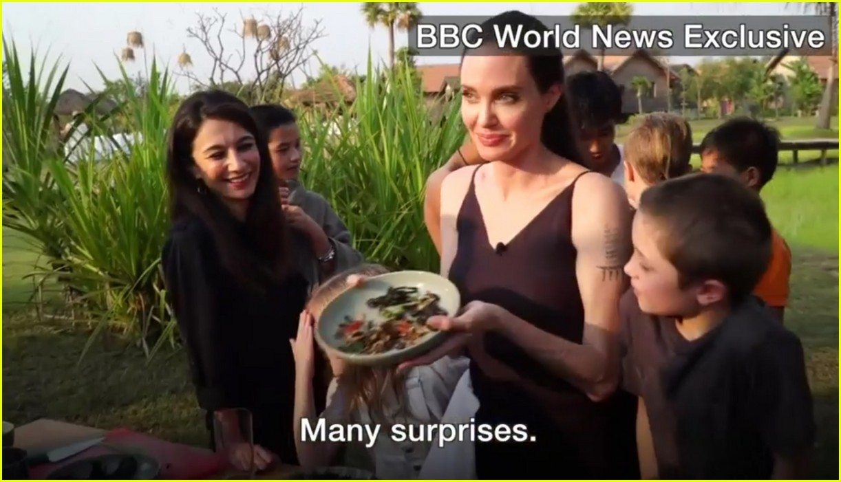 angelina jolie eats spiders insects with her kids 083862893