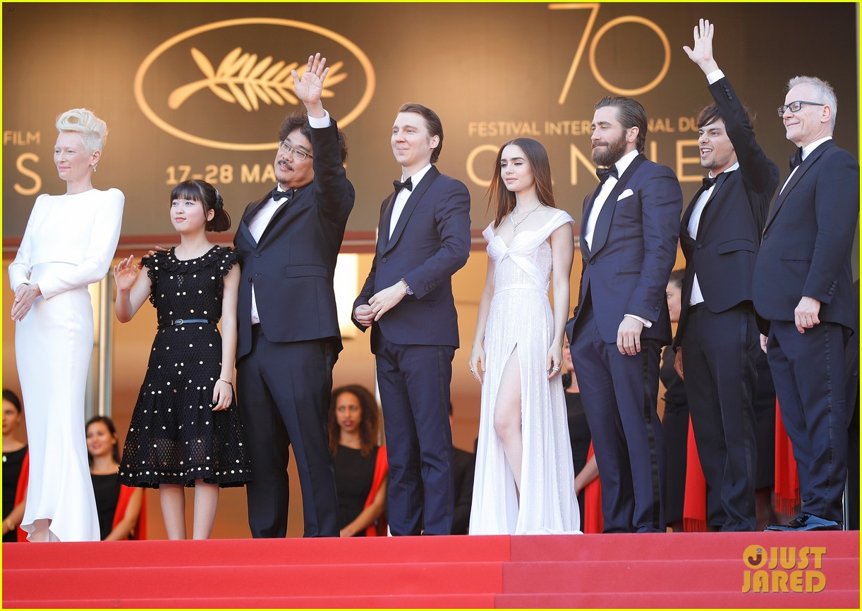 jake gyllenhaal tilda swinton lily collins switch it up for okja cannes premiere 143901568