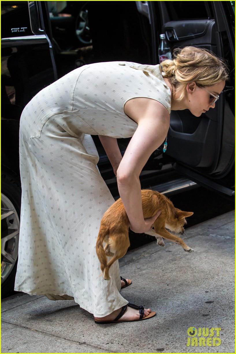 jennifer lawrence visits boyfriend darren aronofskys house with her dog 03
