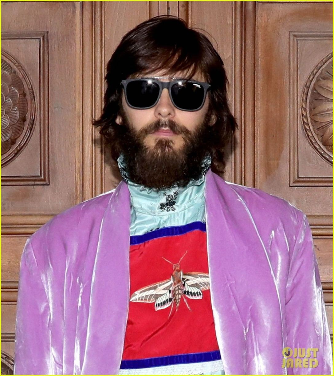 Bearded Jared Leto wears colorful clothes to Gucci show