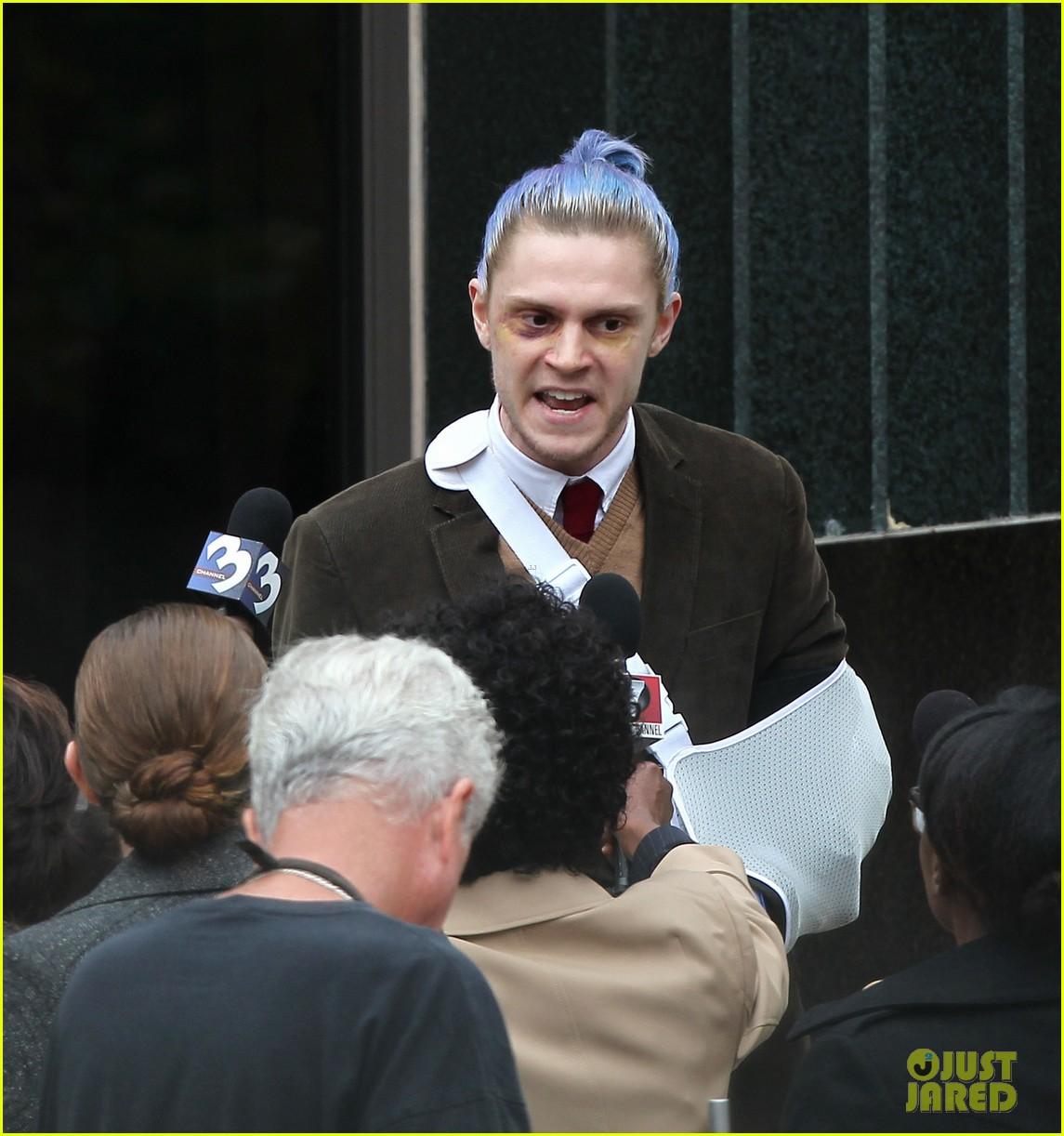 american horror story set photos evan peters sports blue hair 01