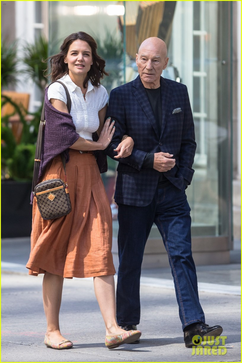 katie holmes and patrick stewart start filming the gift 013918473