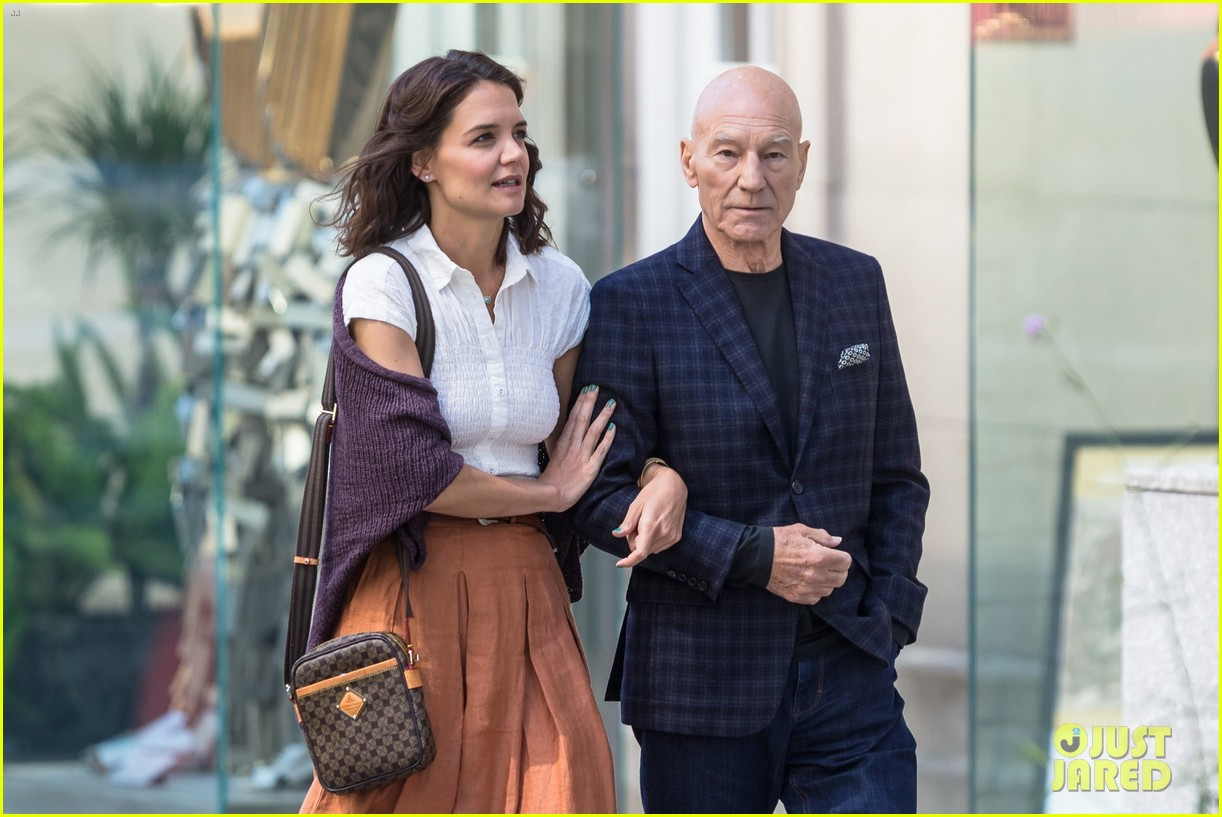 katie holmes and patrick stewart start filming the gift 043918476