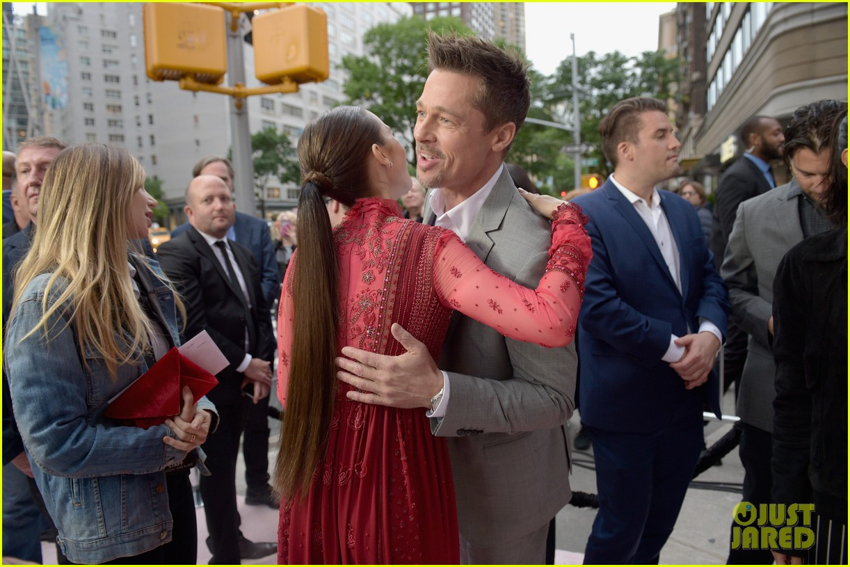 brad pitt gives out lots of hugs at okja nyc premiere 02