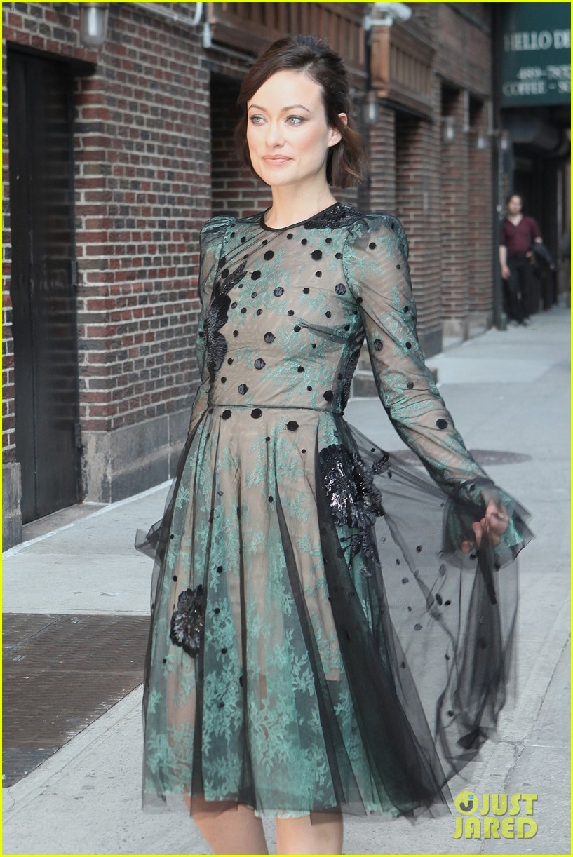 olivia wilde dazzles in see through dress for colbert 023914111