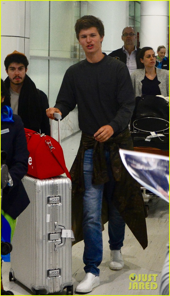 ansel elgort gets greeted by fans at australia airport 033926389