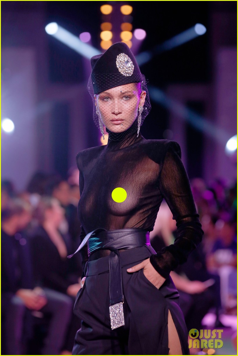 bella hadid wears completely see through top for alexandre vauthier fashion show 043923594