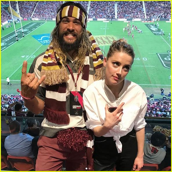 Jason Momoa Photo After Surgery: 'Aquaman' Co-Stars Jason Momoa & Amber Heard Hit Up Rugby