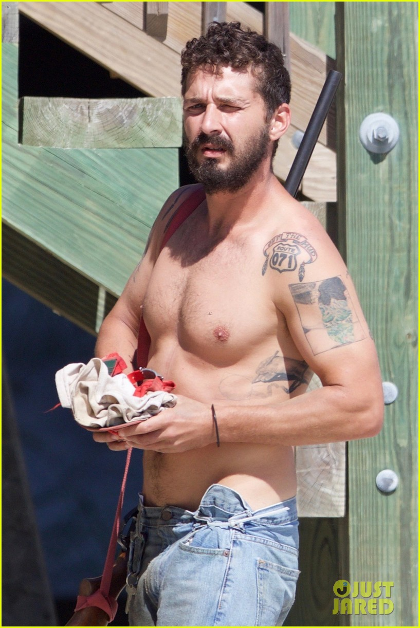 shia labeouf returns to peanut butter falcon set shirtless after arrest in georgia 023936035