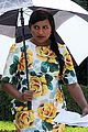pregnant mindy kaling films mindy project in a floral dress 04