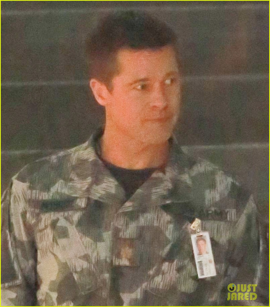 brad pitt dons army uniform for new mvie ad adstra 01