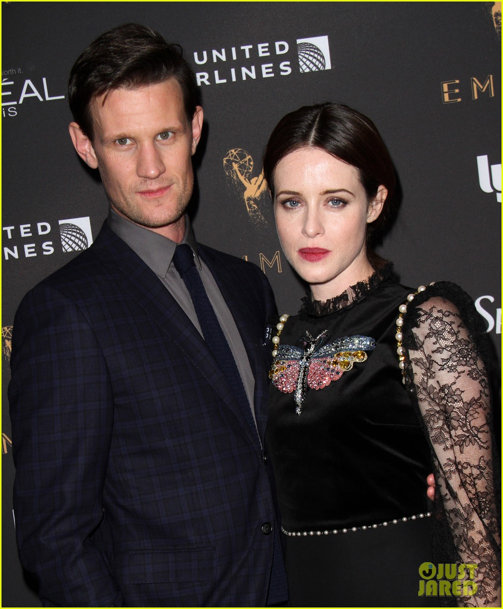 the crowns claire foy matt smith pre emmys party 023958249
