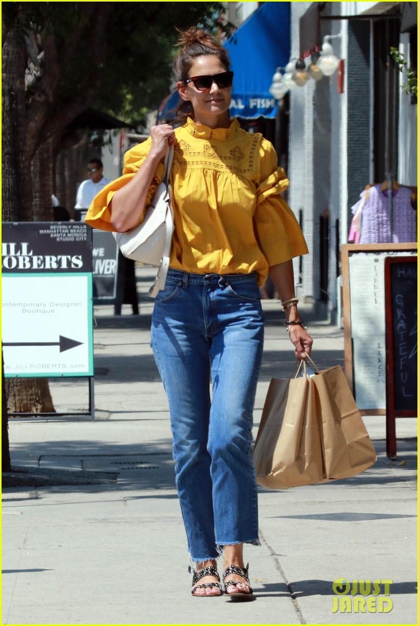 katie holmes yellow blouse studio city 01