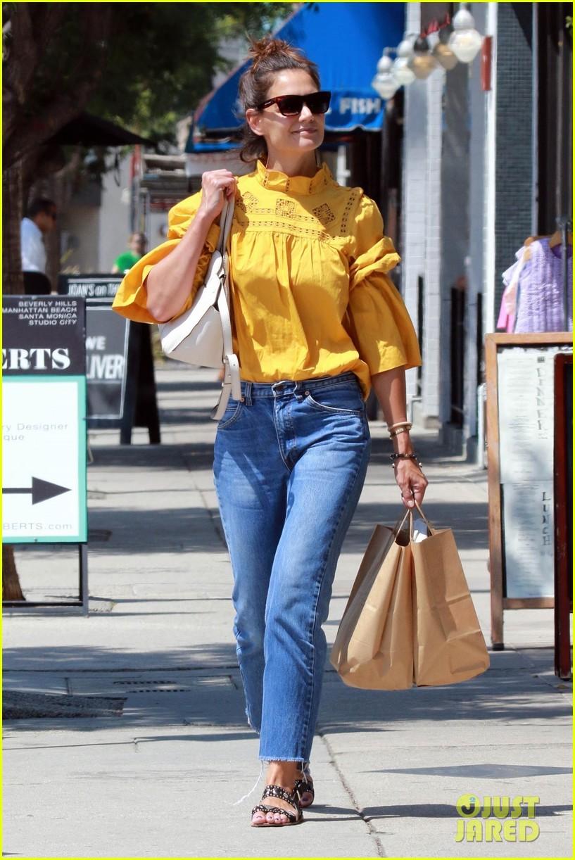katie holmes yellow blouse studio city 02