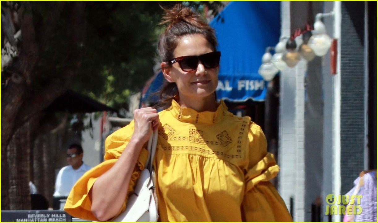 katie holmes yellow blouse studio city 04