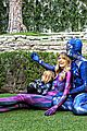 jaime king family dress up as power rangers for halloween 05