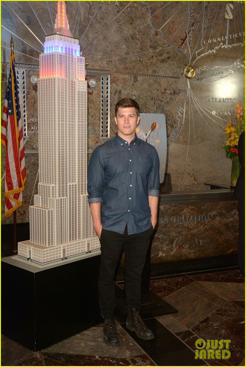 colin jost lights the empire state building in nyc 11