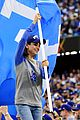 mila kunis ashton kutcher wave dodgers flag 06